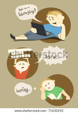 Young reader set - stock vector