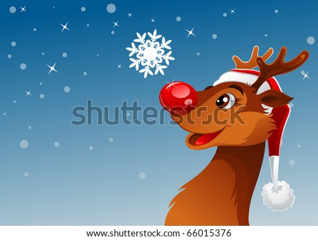 Young reindeer was looking at beautiful snowflake - stock vector