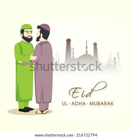 Young religious Muslim men in traditional clothes and hugging and wishing to each other on the occasion of Eid-Ul-Adha festival.  - stock vector