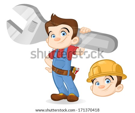 Young repairman with a huge wrench - Original head and head with helmet are on separate layers - stock vector