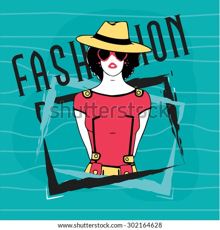 Young retro fashionable girl in hat and sunglasses on stylish vintage background for Fashion. - stock vector