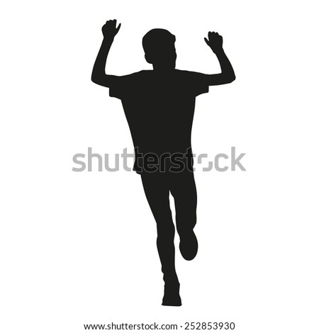 Young running boy - stock vector