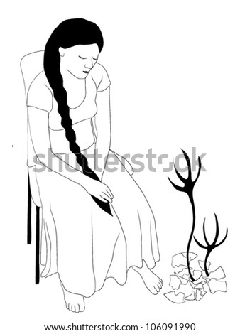 Young sad woman sitting on chair - vector illustration - stock vector