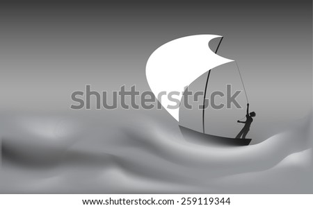 Young sailor silhouette  holding the white sail on the boat in storm sea, black and white, vector  - stock vector