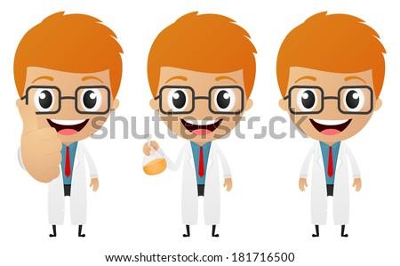 young scientist cartoon - stock vector