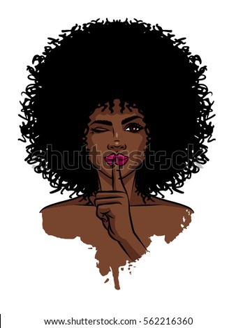 Young sexy dark skinned women. Afro american girl holding hand near her face. Print with dark skin female face on white background