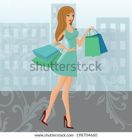 Young sexy shopping girl with fashion bags with swirl decoration and urban background isolated vector illustration - stock vector