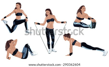 Young sexy sports woman five poses on white background. - stock vector