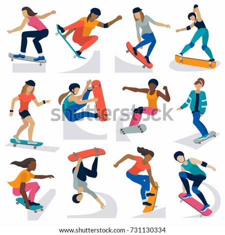 Young skateboarder active girls sport extreme active skateboarding jump tricks vector illustration.