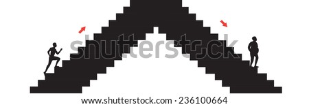 young slim man goes upstairs and old fat man goes downstairs and red arrows show the directions, life cycle - stock vector
