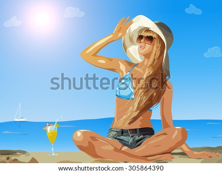 Young slim woman on sea beach looking aside. - stock vector