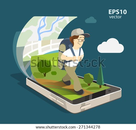 Young smile happy man tourist using mobile navigation system on his smartphone. Isolated 3d color illustration. Creative travel concept.