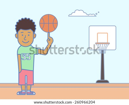Young smiling basketball player with the ball - stock vector