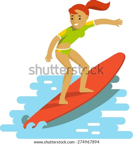 Young smiling surfer girl on surfboard riding the wave on ocean background in flat style - stock vector