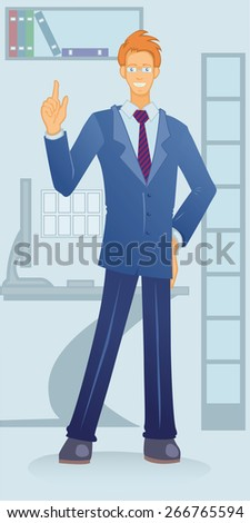young smiling white-collar man in the office making idea gesture - stock vector