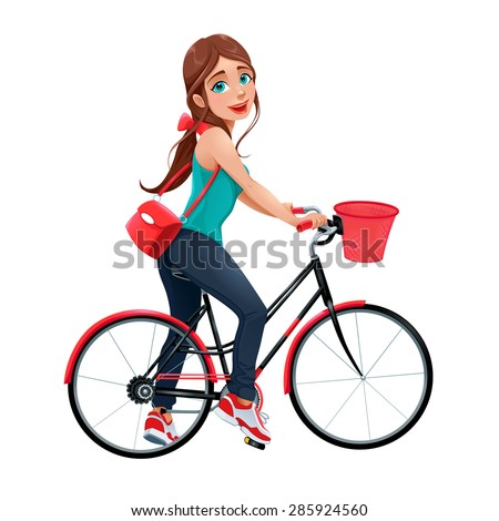Young smiling woman on a bicycle. Vector cartoon isolated character. - stock vector