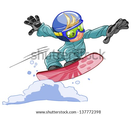Young snowboarder jumping