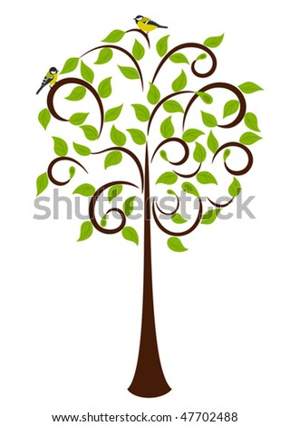 Young Spring Tree and early birdie on it - stock vector