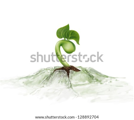 Young sprout grows through melting ice - stock vector