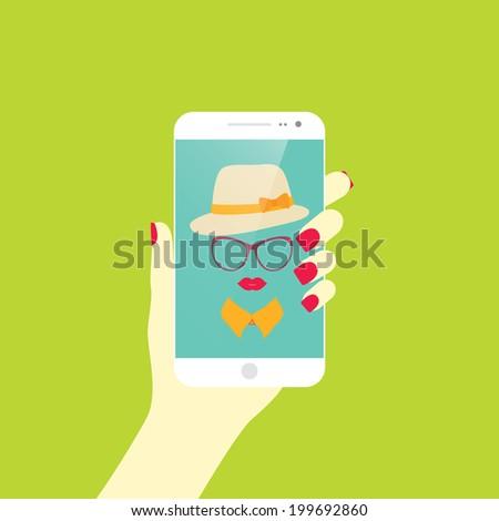 Young stylish girl taking self photo icon. Selfie.Vector illustration - stock vector