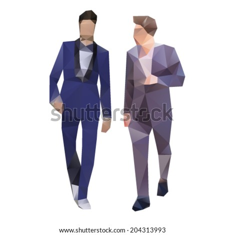 Young successful businessman in suite lowpoly illustration