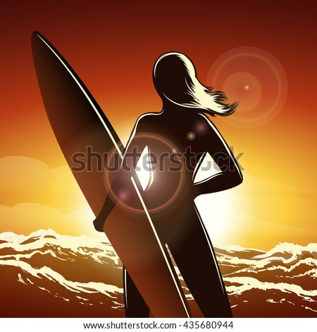 Young surfer girl with a long board on a summer beach. - stock vector