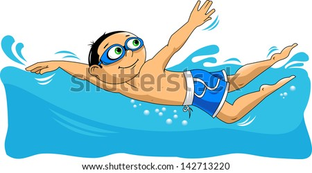 young swimmer takes part in competitions, illustration, vector - stock vector