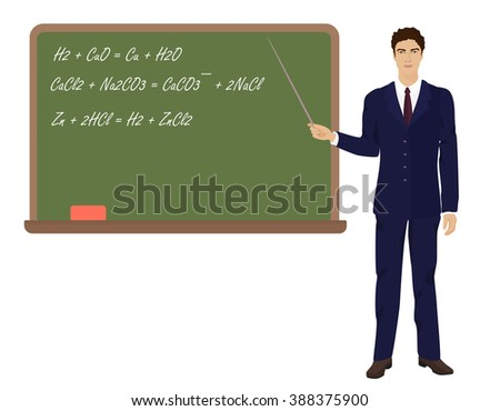 Young teacher man in suit near the desk on the white background. - stock vector