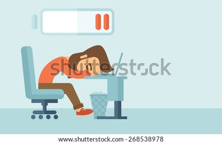 Young tired employee sitting, lying on his table with low power sign on the top of his head need rest, vacation, holiday. A contemporary style with pastel palette, soft blue tinted background. Vector - stock vector