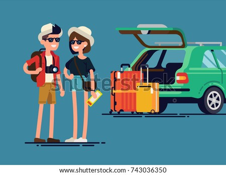 Young travelers couple ready for road trip standing next to their car with open trunk and luggage suitcases. Quality flat vector illustration on travel by car