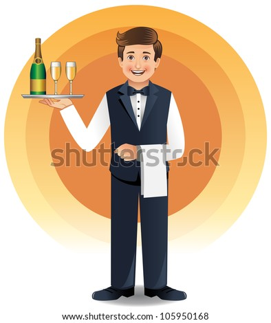 Young waiter in uniform serving champagne - stock vector