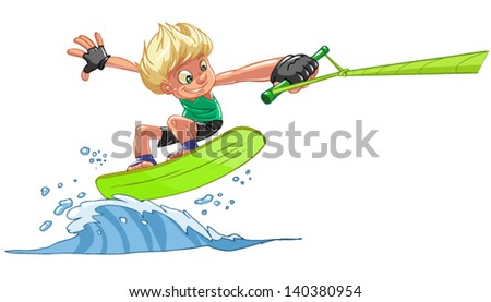 young Wakeboarder in the waves - stock vector
