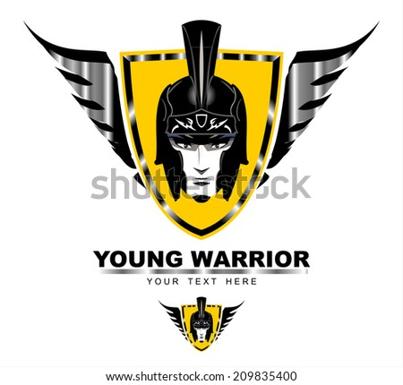 Young Warrior. Young Warrior head on the winged shield . - stock vector