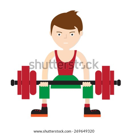 young weight lifter, Vector EPS 10.
