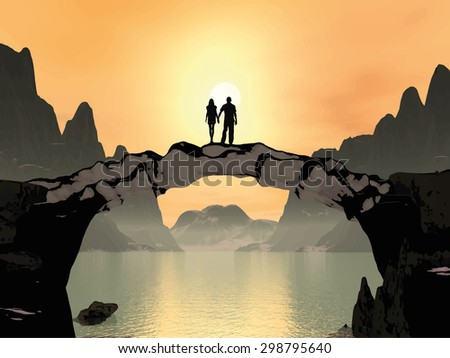 Young woman and man holding hands, standing on a bridge at sunset. In the mountains near the lake. The image is drawn in the 3D. Vector Illustration EPS 10 - stock vector