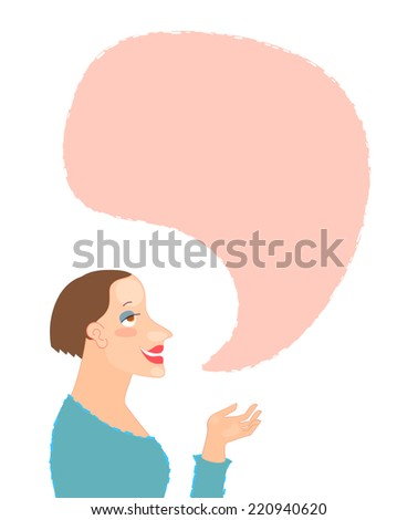 Young woman cartoon character portrait with speech bubble - stock vector