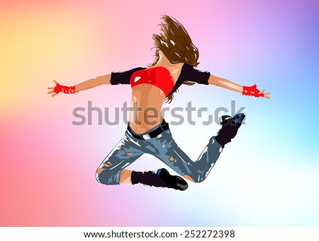 Young woman dancer jumping. EPS 10 format.