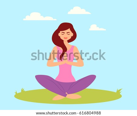 Young woman doing yoga in a park on the grass. Vector illustration