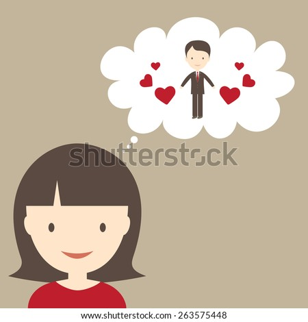 Young woman dreaming of her boyfriend - stock vector