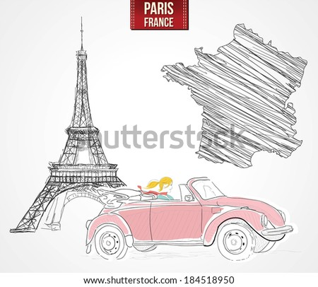 Young woman driving thrugh Paris - stock vector