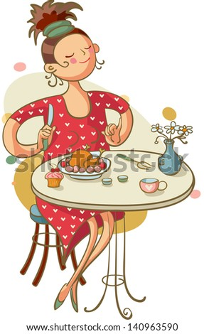 young woman eating lunch in cafe - stock vector