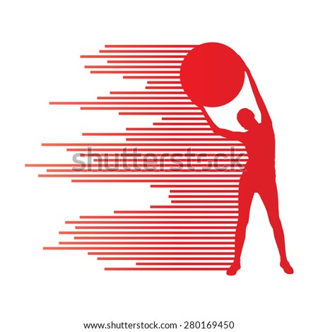 Young woman exercise fitness ball vector background sport concept made of stripes - stock vector