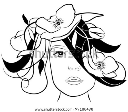 young woman face with poppies in her hair- freehand on white background, vector - stock vector
