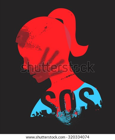 Young Woman head grunge silhouette with hand print on the face and sign SOS. Illustration on the black background.. Vector available. - stock vector