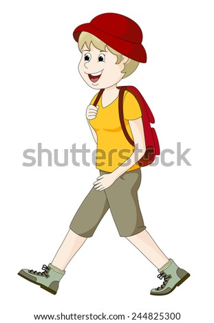 Young woman hiking - stock vector