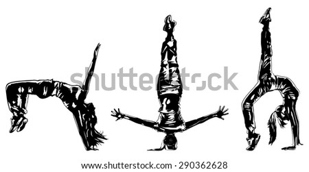 Young woman hip-hop dancer three silhouettes on white background. - stock vector