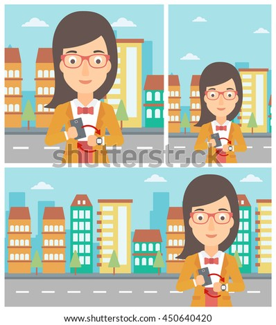 Young woman holding a smartphone looking at her smart watch. Synchronization between smartwatch and smartphone. Vector flat design illustration. Square, horizontal, vertical layouts. - stock vector