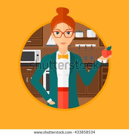 Young woman holding an apple in the kitchen. Young woman eating an apple in the kitchen. Woman with an apple at home. Vector flat design illustration in the circle isolated on background. - stock vector