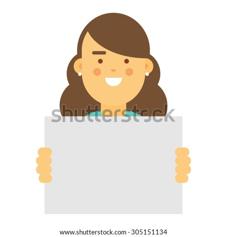 Young woman holding blank sign, vector character - stock vector