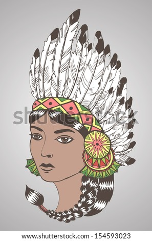 Young woman in costume of American Indian.Color vector illustration of a beautiful American Indian woman with braided hair and native american indian chief headdress.